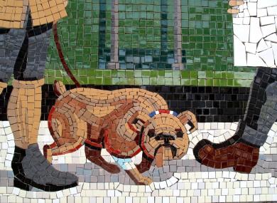 Detail of 1920s mosaic panal