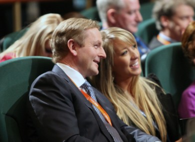 Enda Kenny shares a joke with an attendee at the Fine Gael Árd-Fheis earlier today.