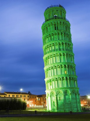 How the Leaning Tower of Pisa is set to look next Saturday when it turns Green for St Patrick's Day.