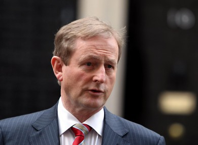 Enda Kenny speaking outside Downing Street after a meeting in January