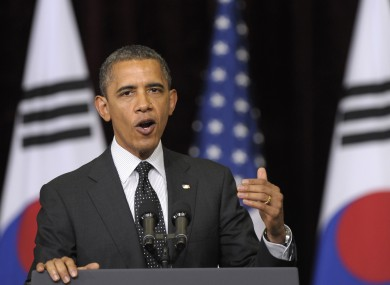 Obama speaking in Seoul