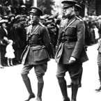 Collins marches beside Richard Mulcahy (left) in the funeral procession of Arthur Griffith, the president of the Irish Free State, who died in August 1922, shortly before Collins himself was assassinated in Cork. (PA Images)