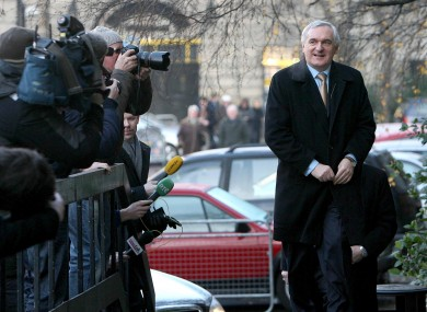 Former Taoiseach Bertie Ahern arriving to give evidence at the Mahon Tribunal in December 2007