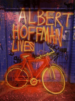 A tribute to the founder of LSD, Albert Hoffman, in London.