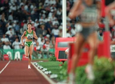 Sonia O'Sullivan struggles at the 1996 Olympics.