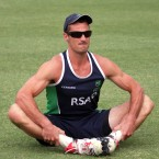 Ireland's Max Sorensen strikes a pose in advance of yesterday's ICC World Twenty20 playoff with Afghanistan.<span class=