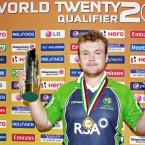 Man of the Match Paul Stirling after the same fixture... Could he look more pleased? Yes.<span class=