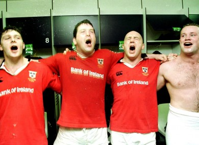 David Wallace, Anthony Foley, Keith Wood and Frankie Sheahan celebrate after a European Cup semi-final in 2000