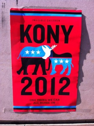 A picture of a Kony 2012 poster on South Great Georges Street in Dublin at the weekend