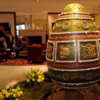 Talk about the ultimate in luxury - a chocolate egg based on the famous Imperial Napoleonic Faberge egg, made by the Grosvenor Hotel's pastry chef Beate Woellstein. (Ian Nicholson/PA Wire)