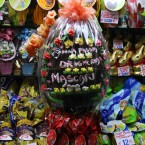 Delicious large Easter eggs on display in a shop window in Venice, Italy. (Rowan Miles/EMPICS Entertainment)