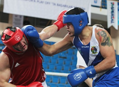 Tommy McCarthy lands a punch in his quarter-final win on Wednesday