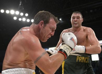 Martin Rogan in action against Tyson Fury (green trunks).