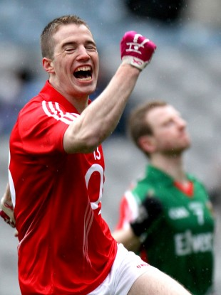 Colm O'Neill celebrates scoring the opening goal yesterday.