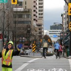 Dedicated bike signals are new feature of the new Hornby separated bike lane. This is the first time they've appeared in the city.  (Image via Flickr/Paul Krueger)