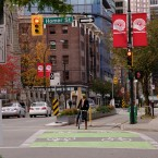 Protected / Separated bicycle lane on Dunsmuir Street, downtown Vancouver, Canada.  (Image via Flickr/Paul Krueger)