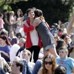 People enjoying the band 'Fibbs' at the Dublin City Soul Fesitval in Merrion Square Park, Dublin. Image: Mark Stedman/Photocall Ireland