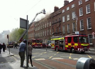 Harcourt Street yesterday as Dublin Fire Brigade battled the blaze