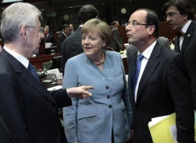 Angela Merkel and Francois Hollande at this evening's EU summit.