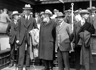 1921: Eamon de Valera, Arthur Griffiths and party colleagues following negotiations for the formation of the Irish Free State.