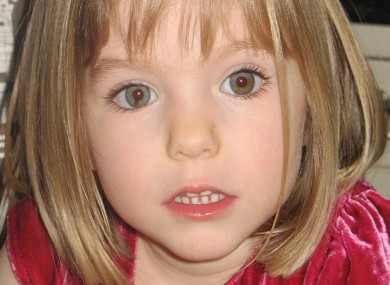 Madeleine McCann, in a different photo from that used by the website