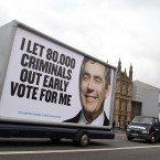 The Conservative Party criticisms rolled into town in 2010 when they displayed their new poster campaign by driving them past the Houses of Parliament in central London.(Lewis Whyld/PA images)