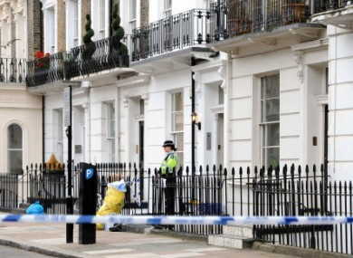 Police at outside Gareth Williams's apartment in Pimlico.