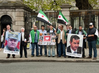 Anti-Syrian regime protesters outside the Dáil today.