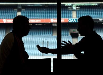 Nigel Dineen, Roscommon U21 manager, is interviewed at Croker this week.