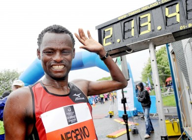 Ethiopia's Urga Negewo after winning the Belfast City Marathon yesterday.