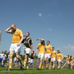 Antrim players feel the heat during the parade before the start of the Ulster GAA Football Senior Championship Quarter-Final in Clones, Co Monaghan. Image: INPHO/Andrew Paton/Presseye.com