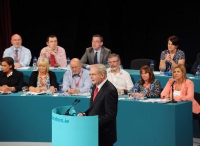 Martin McGuinness address delegates at the Sinn Féin Ard Fheis in Killarney, Co Kerry earlier today.