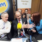 (LtoR) Campaigners for a Yes vote in the Treaty, Minister for Jobs, Richard Bruton, Leader of Fianna Fail Micheal Martin and CEO of 11890 Nicola Byrne pictured as they take part in a live referendum debate on 'The Last Word' in the Irish Life Centre in Dublin on 17 May.   Photo: Laura Hutton/Photocall Ireland