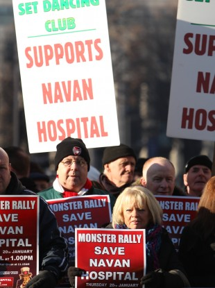 Protesters from the Save Navan Hospital Campaign pictured at the Dáil in January 2011