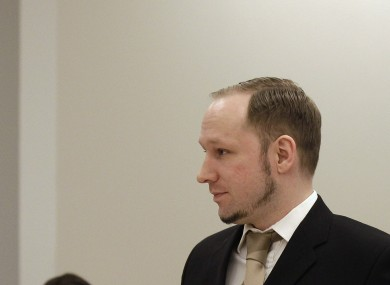 Breivik pictured in court in April at the start of the trial