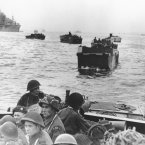 Canadian troops in landing crafts approach a stretch of coastline code-named Juno Beach near Bernieres-sur-mer. (AP Photo)