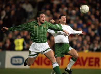 John Aldridge (R) and Gerry Taggart (L) battle for the ball in one of the most famous clashes between the Republic and the North in 1993