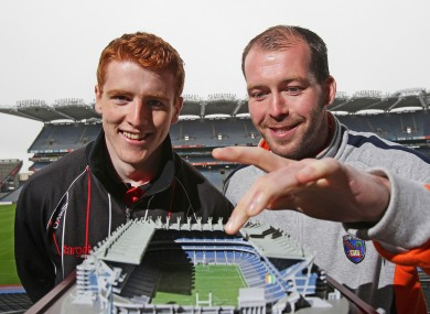 Attending the launch of the replica model of Croke Park Stadium, Peter Harte of Tyrone and Ciaran McKeever of Armagh.