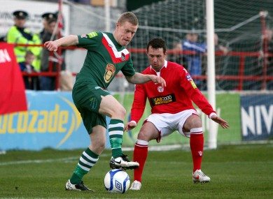 Cork's Daryl Horgan and Paddy Kavanagh of Shelbourne.