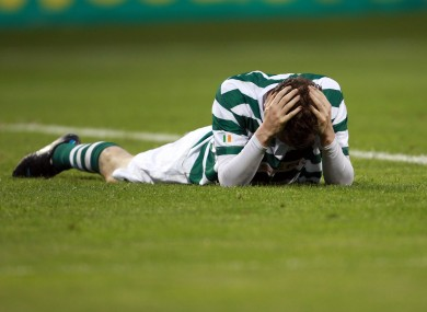 Gary Twigg after missing a chance.