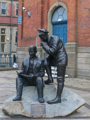 Bronze statue commemorating Jack Judge in Stalybridge, England