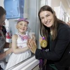 The gold medalist meets five-year-old Ella Sherlock, who is in isolation, and mother Dawn, left, from Knocklyon, Dublin. (Photo: Mark Stedman/Photocall Ireland)