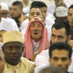 Eid al-Fitr prayers at the Exhibition Center of the Parc Chanot , in Marseille, France. (AP Photo/Claude Paris/PA)