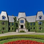 The facade of the French chateau-inspired property on Île Gagnon, Montreal. (Estate agent: sothebysrealty.ca)