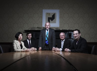 Ruairí Quinn with some of his advisers at the Department of Education.