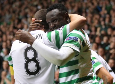 Celtic's Victor Wanyama celebrates scoring during the UEFA Champions League match at Celtic Park.