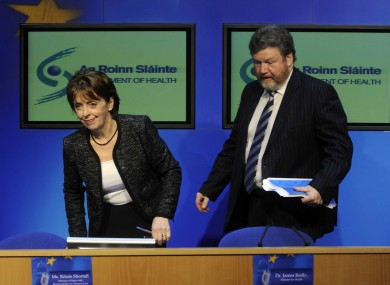 Róísín Shortall and James Reilly brief reporters after the 2012 Budget. Reilly told a local meeting last night that