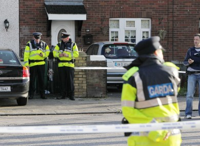 Gardaí at the scene of the fatal shooting on Cloverhill Road, west Dublin.