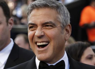 George Clooney, baring his teeth