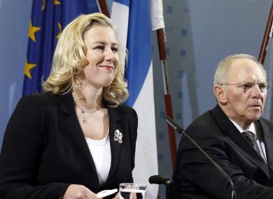 German Finance Minister Wolfgang Schaeuble, center, the Finance Minister of the Netherlands, Jan Kees de Jager, right, and the Finance Minister of Finland, Jutta Urpilainen.